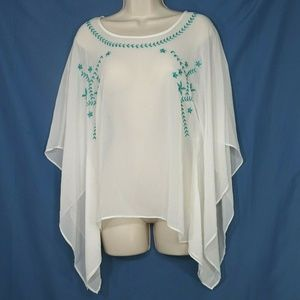 Ariat Sheer Top Angel Wings Embroidered Size XS